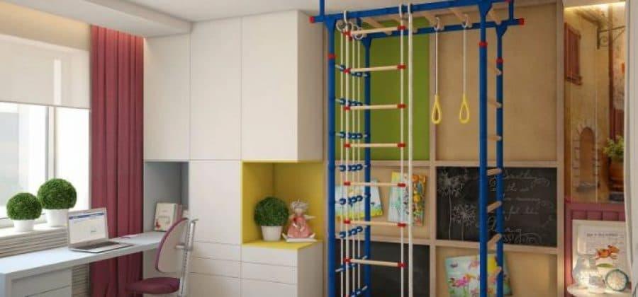 Как в небольшой комнате поместить детскую шведскую стенку
